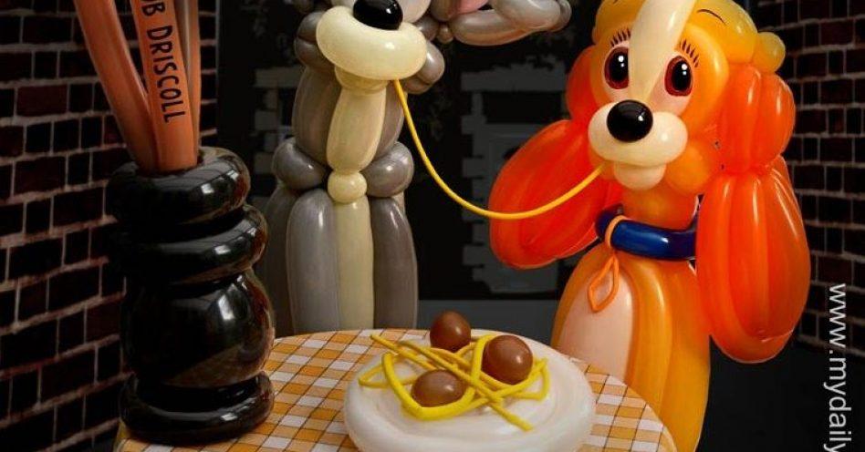 Cenas famosas do cinema inspiram artista de balões